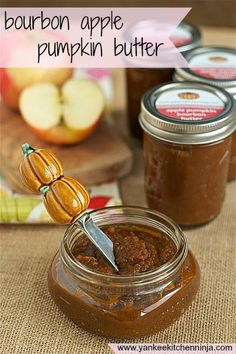 Bourbon apple pumpkin butter -- from the Yankee Kitchen Ninja Make with all apples and Fireball cinnamon whiskey! Bourbon Recipes, Apple Recipes, Pumpkin Recipes, Fall Recipes, Healthy Recipes, Pear Butter, Apple Butter, Flavored Butter, Butter Recipe