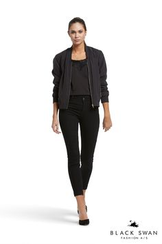 Black jeans with destroyed effect, cool bomber jacket and lovely strap top with lace detail at neckline. Black Swan Fashion SS17