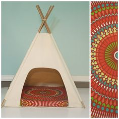 Dog Teepee / Cat Teepee - Modern Pet Bed - Natural Canvas with Medallion Pillow - Red,Yellow,Green,Blue- Vintage Kandy Tenthouse Suites