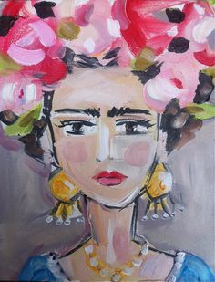 Frida Kahlo Painting Canvas pinks by DevinePaintings on Etsy Watercolor Art Lessons, Watercolor Art Paintings, Painting Canvas, Canvas Art, Frida E Diego, Frida Art, Diego Rivera, Pablo Picasso, Pop Art