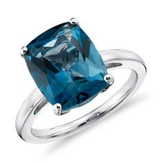 Gift for Mom- London Blue Topaz Cushion-Cut Ring in Sterling Silver