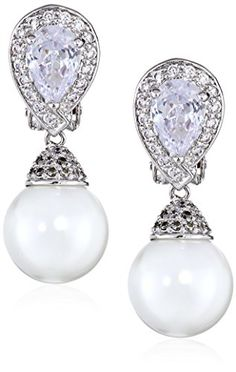 "CZ by Kenneth Jay Lane ""Traditional"" Clip Pave Set Pear with Hanging White Pearl Earrings  $128.00"