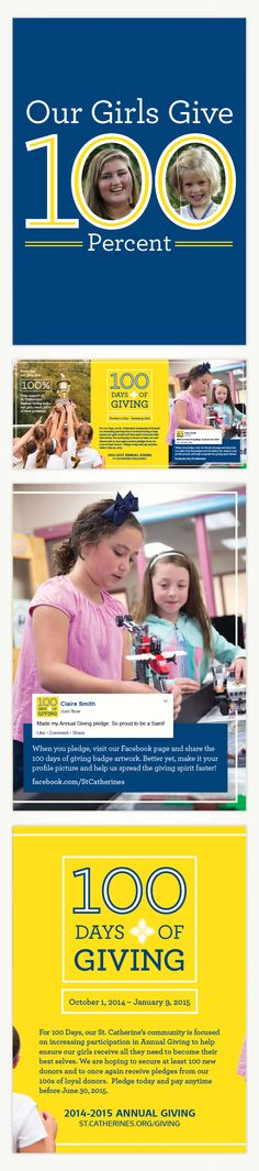 """Raison designed a series of mailers for St. Catherine's 2014-2015 Annual Giving Campaign.   The first mailer highlighted the School's """"100 Days of Giving"""" campaign. #EducationMarketing #DirectMail"""