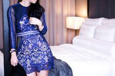*BACK ORDER*Celine Blue Lace Dress – The Nude Skirt