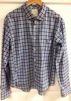 Billy Reid Blue Hot Pink Plaid Long Sleeve Button Up Shirt Men's Italy Size XXL  #BillyReid #ButtonFront