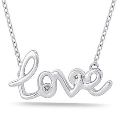 """Sterling Silver Diamond """"Love"""" Pendant Necklace (0.01 cttw, I-J Color, I2 Clarity), 16"""" Amazon Curated Collection, $70 http://www.amazon.com/dp/B00A9PVIKW/ref=cm_sw_r_pi_dp_DVN2qb1TGC0VS"""