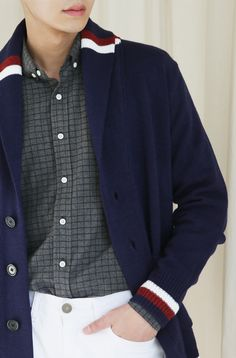 2 Color Line Point Shawl Collar Cardigan | $67.00