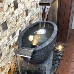 A custom spout + bowl water feature with pebbles and stand and oval bowl. Contact us through our website for any of your water feature ideas. Stone Bowl, Outdoor Stone, Water Features, Website, Architecture, Ideas, Water Sources, Arquitetura, Architecture Design