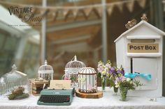 A Vintage & Pretty bird inspired gift table www.vintageandpretty.co.nz  Flowers: by Daisy a Day, Te Aro, Wellington  Venue: Zealandia, Karori, Wellington Pretty Birds, Beautiful Birds, Post Box Vintage, Bird Cages, Gift Table, Glass Domes, Daisy, Crafty, Table Decorations