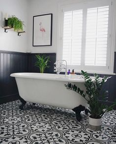 🛀Bathroom Inspiration🛀 When you fall in love with a gorgeous bathroom 💚💚 Swipe left for all the angles and a before photo of… Large Bathrooms, Chic Bathrooms, Small Bathroom, Bathroom Plants, Bathroom Styling, Bathroom Interior Design, Country Style Bathrooms, Roll Top Bath, Victorian Bathroom