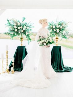 Glamorous Vintage Wedding Ceremony with Green Velvet Decor Bridal Cape, Bridal Gowns, Barn Wedding Venue, Wedding Ceremony, Fitted Lace Wedding Dress, Tall Flower Arrangements, Flatlay Styling, Space Wedding, Rose Photography