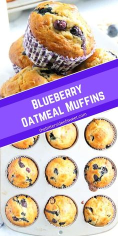 Blueberry Oatmeal Muffins are the prefect way to start your day! With a few simple ingredients and fresh berries these are super easy to make!   The Bitter Side of Sweet Egg Recipes For Breakfast, Sweet Breakfast, Brunch Recipes, Breakfast Time, Breakfast Ideas, Easy Cake Recipes, Sweet Recipes, Muffin Recipes, Yummy Recipes