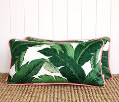 "Neon Green Palm Outdoor Lumbar Cushion Pillow Cover with piping | 60 x 30cm | 24"" x 12"""