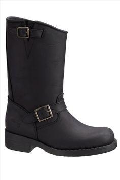 Johnny Bulls Hi Biker boots av skinn i färgerna Svart, Mörkbrun inom Dam - Ellos.se