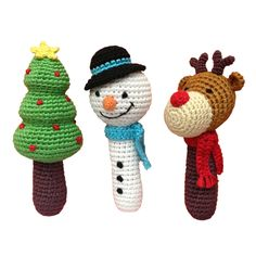 Holiday stick rattles (set of 3)