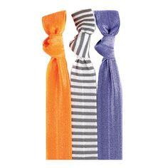 Rhonda™ Hair Tie Set 3 HAIR TIES: Solid Neon Orange | Steel Stripe on White | Solid Lilac #twistband