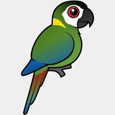 Cute Birdorable Golden-collared Macaw, also known as Yellow-collared Macaw, in Parrots & Parakeets. The Golden-collared Macaw is a small species of macaw Cute Birds, Bird Design, Birds Of Prey, Parakeet, Vulnerability, South America, Baby Animals, Parrot, Collars