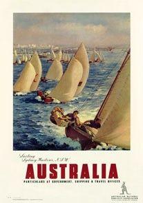 Sailing, Sydney Harbour, Australia. Vintage Travel poster by James Northfield | eBay
