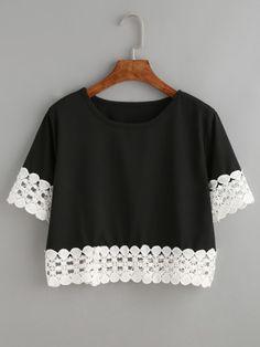 Camiseta crochet crop - negro