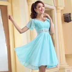 Sweet V-Neck Rhinestone Embellished Dolman Sleeves Bridesmaid Dress For Women