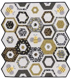 """Could this baby quilt *bee* any cuter? :) Strip piecing makes this """"Sweet as Can Bee"""" quilt super-quick to finish."""