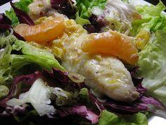 Seeteufel in Orangensauce auf Salat