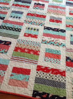 Baby Crib or Lap Quilt in Red Aqua green and by ModernMaterialGirl