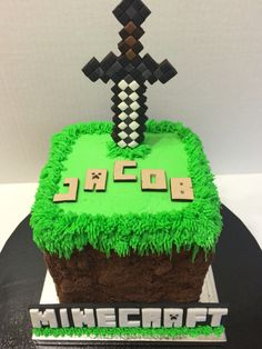 Minecraft cake with fondant sword. By Sweet Celebrations by Lori in SLC, UT