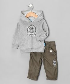 Take a look at this Gray 'Varsity' Hoodie & Pants by Sweet & Soft: Boys' Playwear on #zulily today!#fall