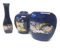 Vintage Cobalt Blue Oriental Motif Small Vase by sweetie2sweetie, $16.99