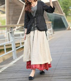 Double Layered Long Linen Ruffle Skirt