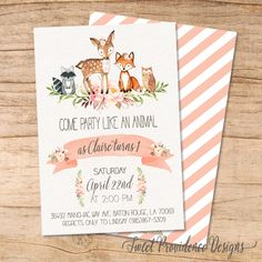 Woodland Animals Birthday Invitation Watercolor / Floral Woodland Birthday invitation /Watercolor Woodland Invitation by SweetProvidence on Etsy