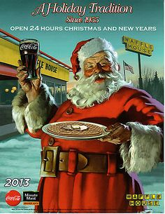 WAFFLE HOUSE ADVERTISMENT PICTURE COCA COLA SANTA 2014 AD 8 X 11 COKE not olaf