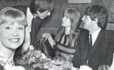 George takes out actress Hayley Mills with Jane and Paul also present. Hayley Mills & Jane Asher were both teenagers at the time and living out every Beatlemaniac girl's fantasy!