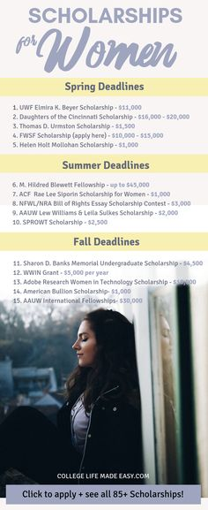OVER 100 college scholarships for women compiled into one handy list! These are scholarships for girls mothers and all females who need money for college in Included are scholarships for minority women women in STEM fields and women in business. Grants For College, Financial Aid For College, College Planning, Online College, College Hacks, Education College, College Scholarships, College Checklist, School Hacks