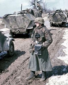 "A column of the SS-Panzer-Grenadier-Regiment 21 from the SS-Panzer-Division ""Frundsberg"". Western Ukraine, spring of"