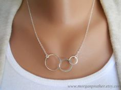Sterling Silver Triple Circle Necklace - Dainty Minimal Simple Modern - Everyday Jewelry - Gift - morganprather on Etsy, $27.00