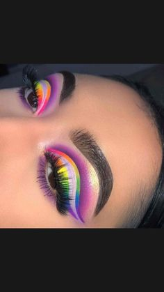 Rainbow Eye Makeup, Cute Eye Makeup, Dope Makeup, Creative Eye Makeup, Baddie Makeup, Makeup Eye Looks, Colorful Eye Makeup, Eye Makeup Art, Dramatic Makeup