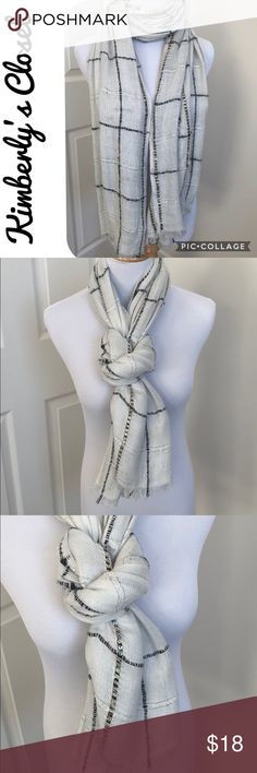 🛍ANN TAYLOR🛍 Scarf ANN TAYLOR scarf - winter white color with black window pane design and gold sequin accents.  Gently used - some small snags in scarf material (see photos).  Otherwise in great condition. Ann Taylor Accessories Scarves & Wraps
