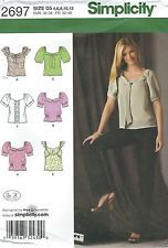 Simplicity 2697 Misses' Top with Collar and Sleeve Variations 4, 6, 8, 10, 12