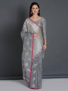 Grey Saree, Traditional Sarees, Banarasi Sarees, Festival Wear, Pink Silk, Stylists, Sari, Feminine, Model