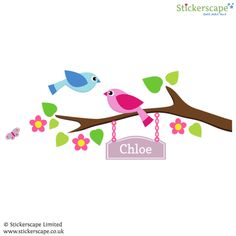 Personalised birds on branch wall sticker