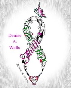 Words Faith Hope Love made into a Awareness Ribbon shape - Tattoo Design by Denise A. Wells I have been designing lettering for over 20 years now. If you are interested in having me make you a custom tattoo design, you can contact me at deniseawells Band Tattoos, Ribbon Tattoos, Neue Tattoos, Body Art Tattoos, Cool Tattoos, Poker Tattoos, Crazy Tattoos, Awesome Tattoos, Form Tattoo
