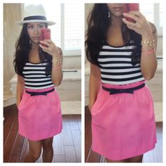 StylishPetite.com | Nautical Stripes, Hot Pink and Panama Hat