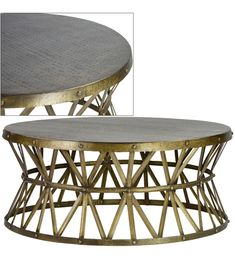Ella Round Coffee Table Gabby Aged Oak top Rustic Russet Iron