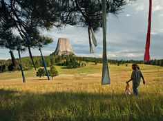 """OCTOBER 1, 2012    Prayer Flags, Wyoming  Photograph by Aaron Huey, National Geographic    This Month in Photo of the Day: National Geographic Magazine Features    Nine-year-old Wakinyan Two Bulls places prayer flags in a tree near Mato Tipila (""""bear lodge""""), or Devils Tower, in Wyoming. The story of the Oglala—their spirituality and their fight to remedy old wrongs—goes well beyond the Pine Ridge Reservation.  More pictures in August 2012 feature story """"In the Shadow of Wounded Knee."""""""