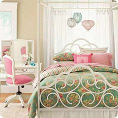 Cute PB Teen Bedroom Inspiration...I love the bed's canopy and the vanity and chair that match perfectly.