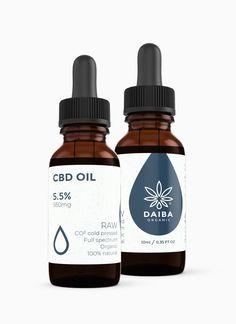 Daiba CBD Oil 5.5% RAW, CO2 cold pressed, Full spectrum, CBD + CBDA, 100% natural, 200 drops per 10ml, 1 drop = 2.75mg of CBD