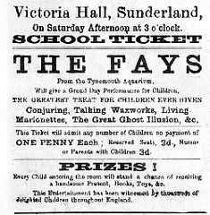 The Victoria Hall disaster, in which 183 children died, occurred in Sunderland, England on 16 June 1883 at the Victoria Hall, which was a large concert hall on Toward Road facing onto Mowbray Park.