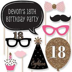 The perfect photo booth begins with fabulous photo booth props. Our printed and cut kit will help you easily create fun party photos at your birthday party. This Chic Pink, Black and Gold - birthday party photo booth props kit come with 20 piece Gold Birthday Party, Adult Birthday Party, 30th Birthday Parties, Gold Party, 90th Birthday, Birthday Party Themes, Happy Birthday, Birthday Ideas, Surprise Birthday
